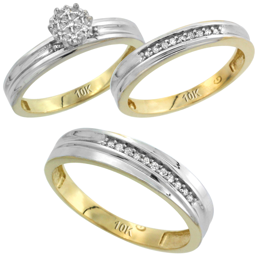 10k Yellow Gold Diamond Trio Engagement Wedding Ring Set for Him and Her 3-piece 5 mm & 3 mm wide 0.11 cttw Brilliant Cut, ladies sizes 5 � 10, mens sizes 8 - 14