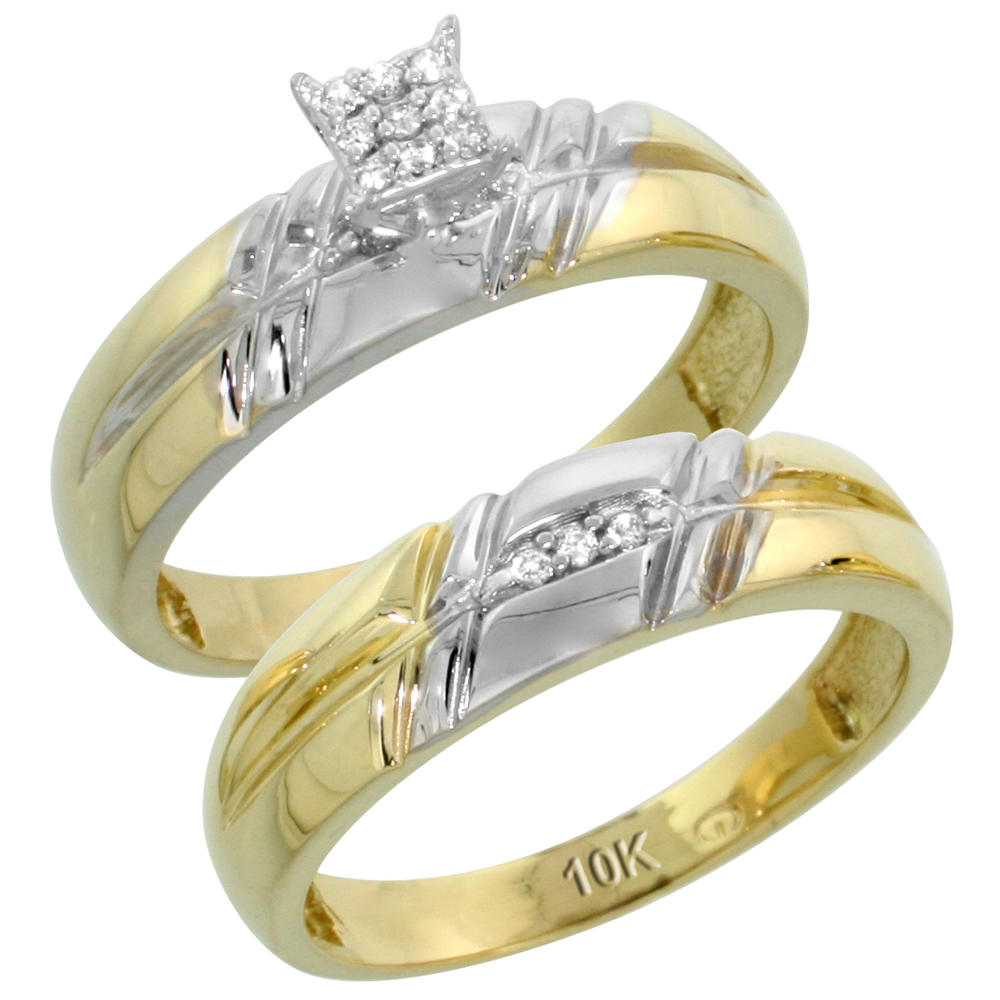 10k Yellow Gold Diamond Engagement Ring Set 2-Piece 0.08 cttw Brilliant Cut, 7/32 inch 5.5mm wide