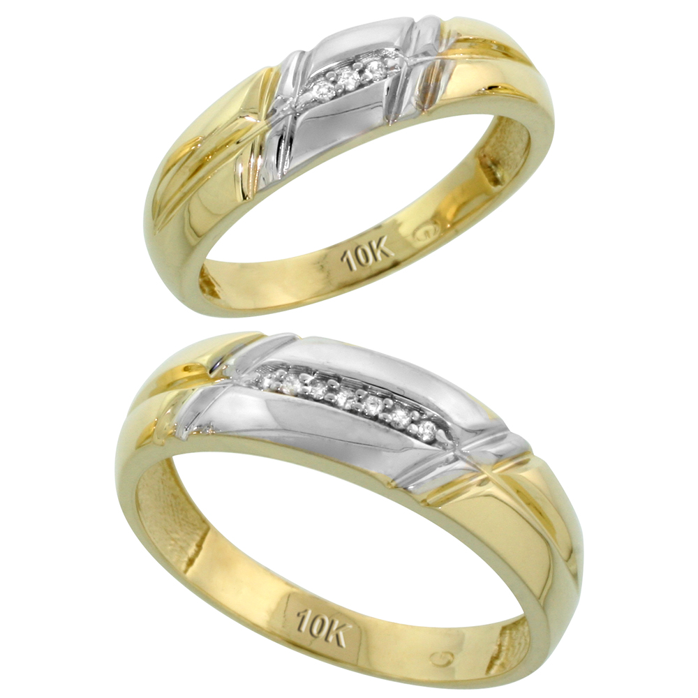 10k Yellow Gold Diamond Wedding Rings Set for him 6 mm and her 5.5 mm 2-Piece 0.06 cttw Brilliant Cut, ladies sizes 5 � 10, mens sizes 8 - 14