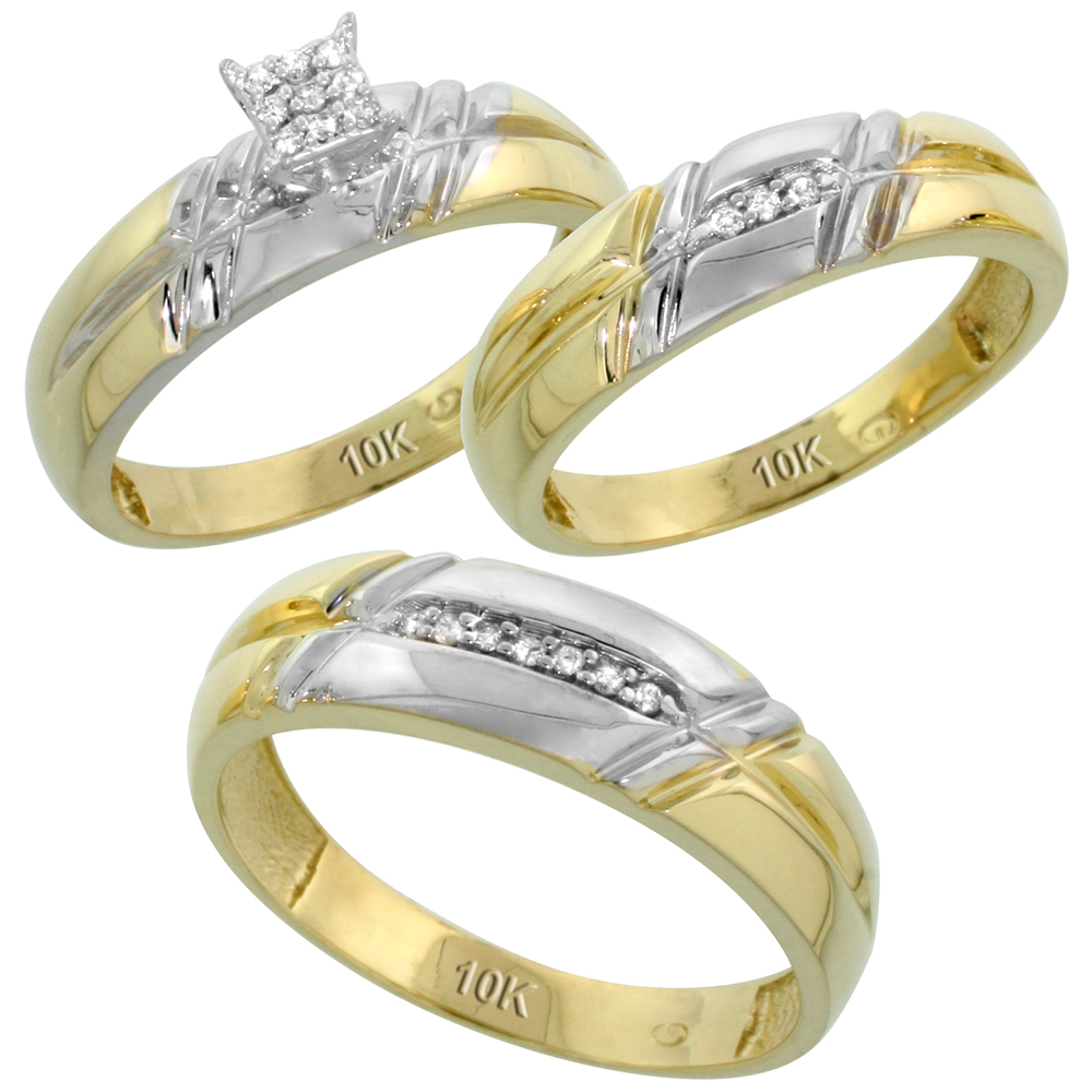 10k Yellow Gold Diamond Trio Engagement Wedding Ring Set for Him and Her 3-piece 6 mm & 5.5 mm wide 0.12 cttw Brilliant Cut, ladies sizes 5 � 10, mens sizes 8 - 14