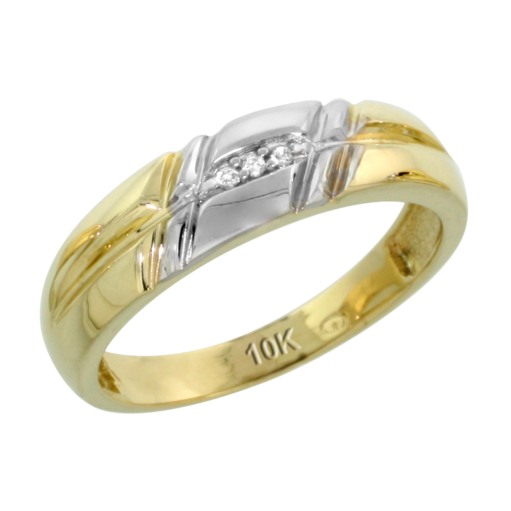 10k Yellow Gold Ladies' Diamond Wedding Band, 7/32 inch wide