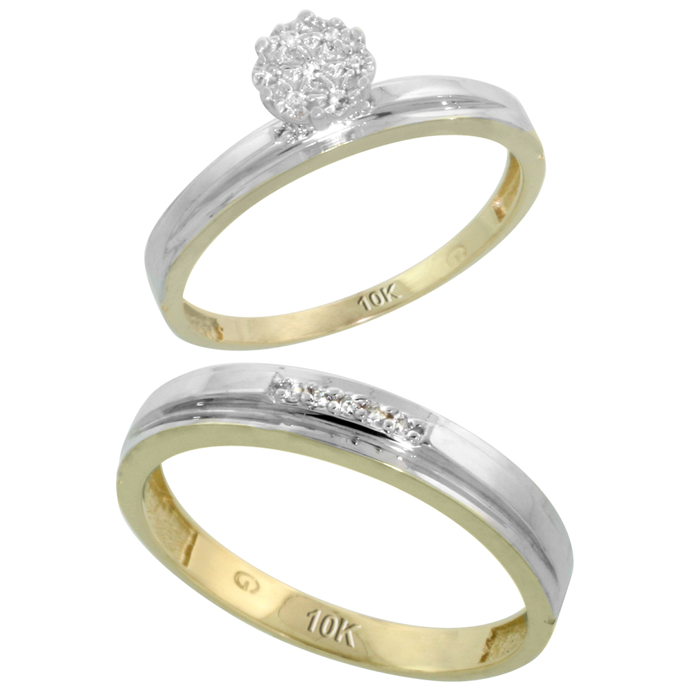 10k Yellow Gold Diamond Engagement Rings Set for Men and Women 2-Piece 0.08 cttw Brilliant Cut, 3mm & 4mm wide