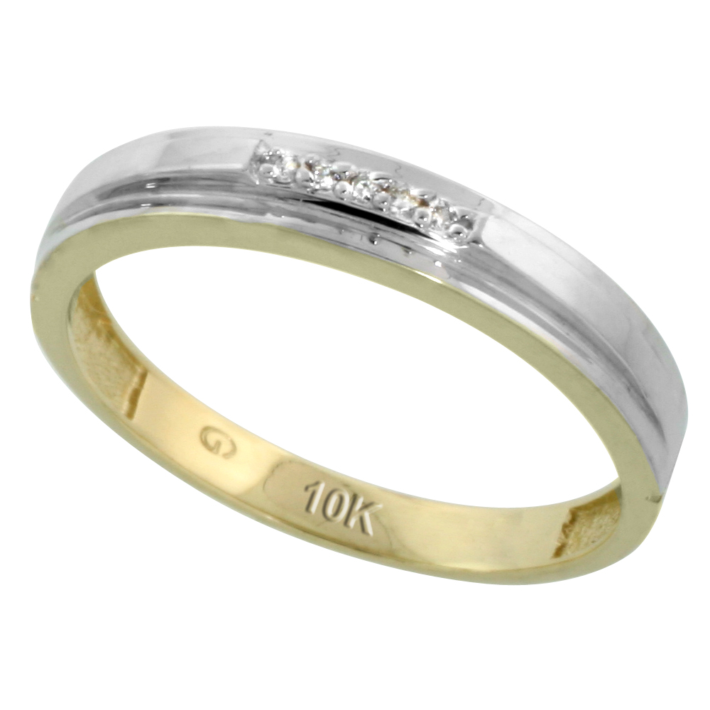 10k Yellow Gold Mens Diamond Wedding Band Ring 0.03 cttw Brilliant Cut, 5/32 inch 4mm wide