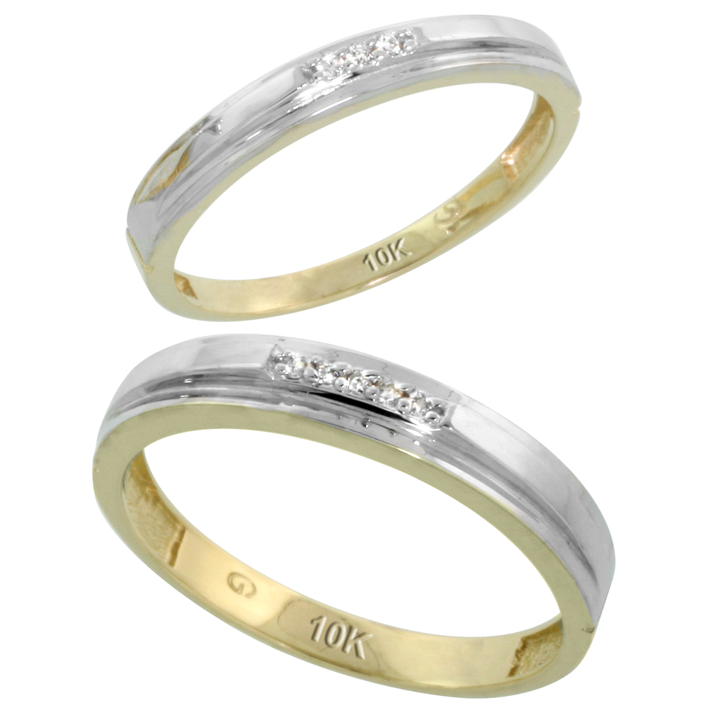 10k Yellow Gold Diamond Wedding Rings Set for him 4 mm and her 3 mm 2-Piece 0.05 cttw Brilliant Cut, ladies sizes 5 � 10, mens sizes 8 - 14