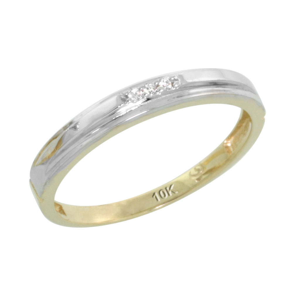 10k Yellow Gold Ladies' Diamond Wedding Band, 1/8 inch wide
