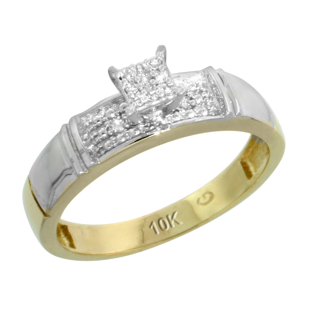 10k Yellow Gold Diamond Engagement Ring 0.07 cttw Brilliant Cut, 3/16 inch 4.5mm wide