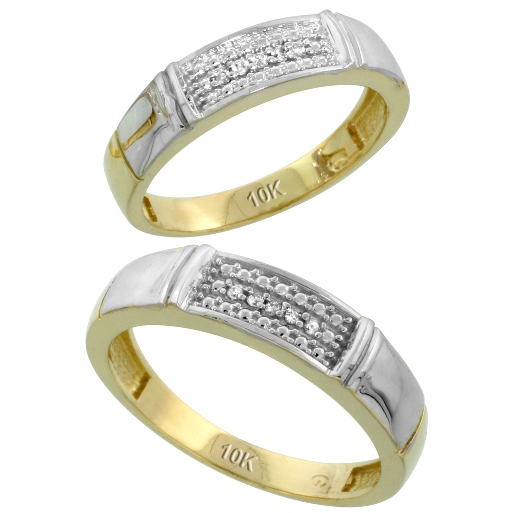 10k Yellow Gold Diamond Wedding Rings Set for him 5 mm and her 4.5 mm 2-Piece 0.06 cttw Brilliant Cut, ladies sizes 5 � 10, mens sizes 8 - 14
