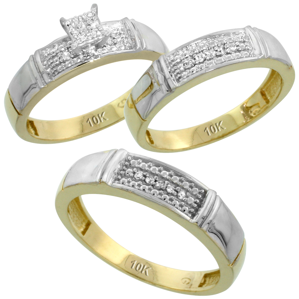 10k Yellow Gold Diamond Trio Engagement Wedding Ring Set for Him and Her 3-piece 5 mm & 4.5 mm, 0.13 cttw Brilliant Cut, ladies sizes 5 � 10, mens sizes 8 - 14