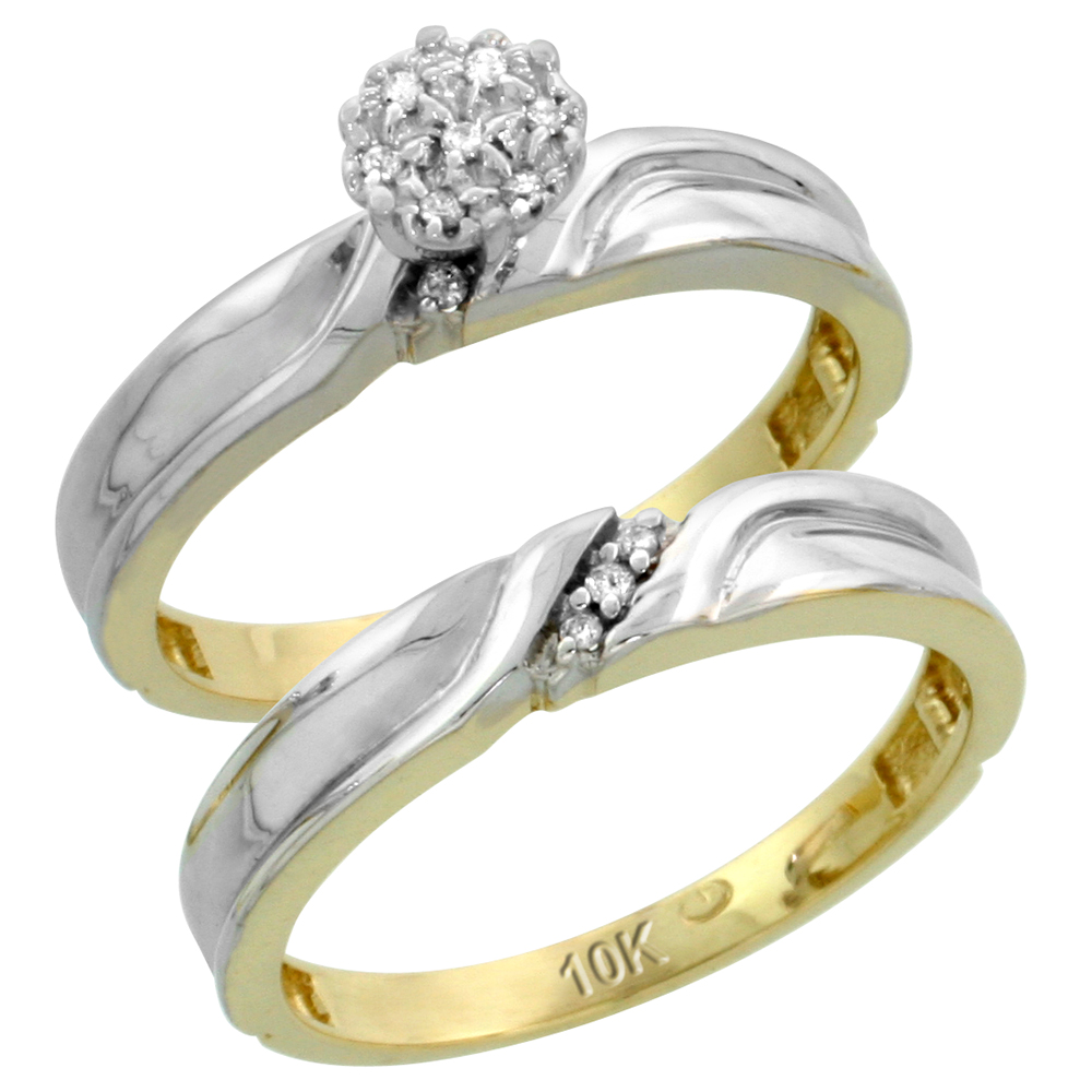 10k Yellow Gold Diamond Engagement Ring Set 2-Piece 0.07 cttw Brilliant Cut, 1/8 inch 3.5mm wide