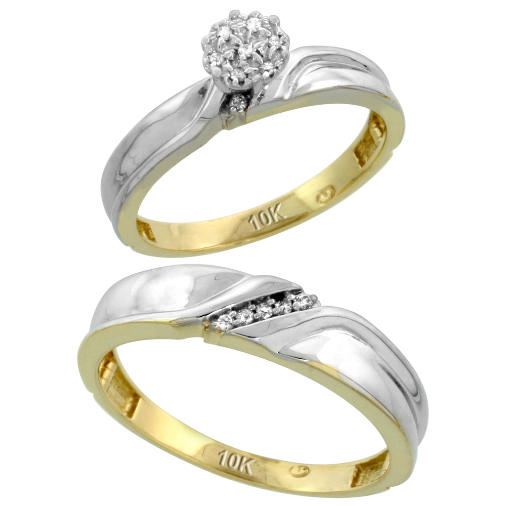 10k Yellow Gold Diamond Engagement Rings Set for Men and Women 2-Piece 0.09 cttw Brilliant Cut, 3.5mm & 5mm wide