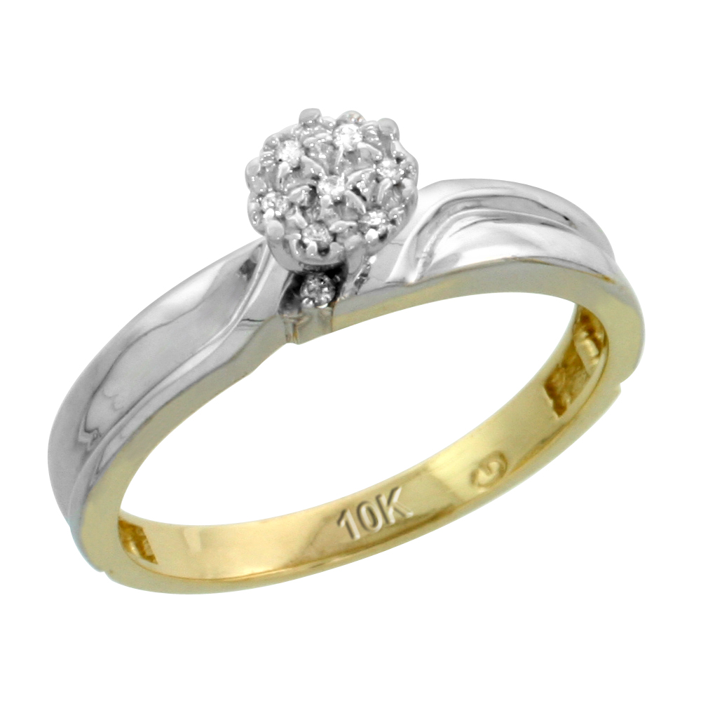 10k Yellow Gold Diamond Engagement Ring 0.05 cttw Brilliant Cut, 1/8 inch 3.5mm wide