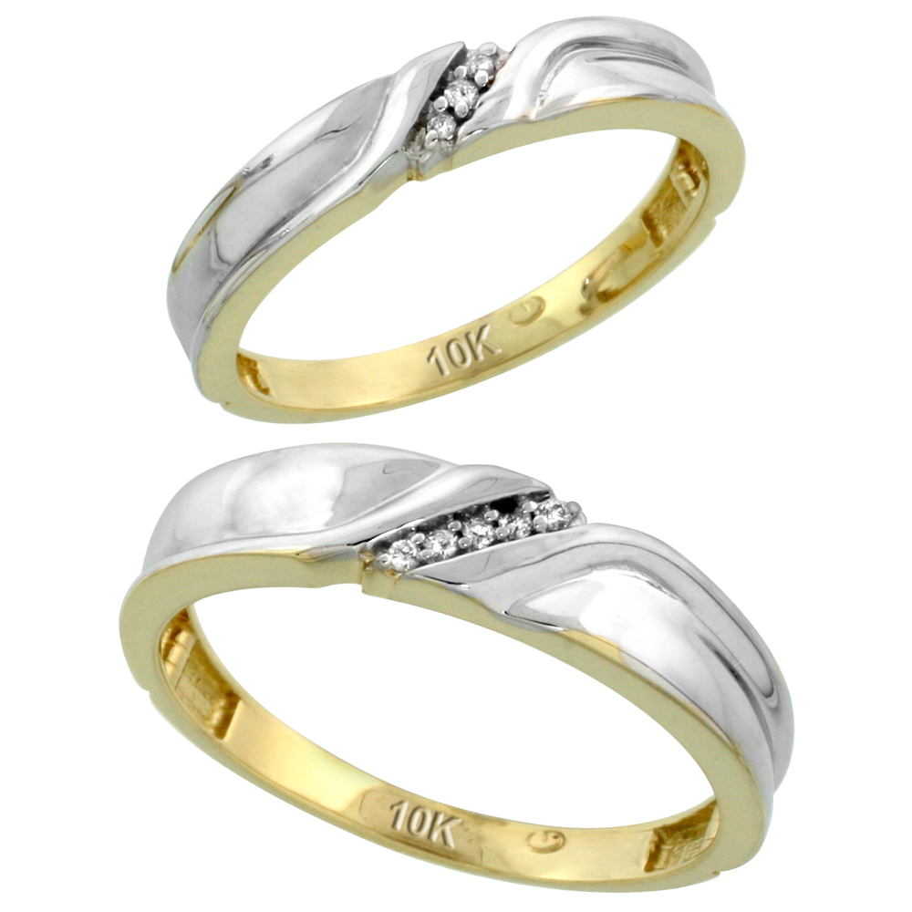 10k Yellow Gold Diamond Wedding Rings Set for him 5 mm and her 3.5 mm 2-Piece 0.06 cttw Brilliant Cut, ladies sizes 5 � 10, mens sizes 8 - 14