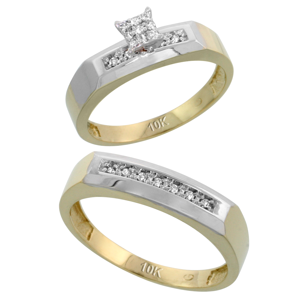 10k Yellow Gold Diamond Engagement Rings Set for Men and Women 2-Piece 0.11 cttw Brilliant Cut, 4.5mm & 5mm wide