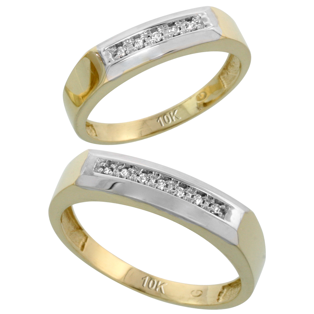 10k Yellow Gold Diamond Wedding Rings Set for him 5 mm and her 4.5 mm 2-Piece 0.07 cttw Brilliant Cut, ladies sizes 5 � 10, mens sizes 8 - 14