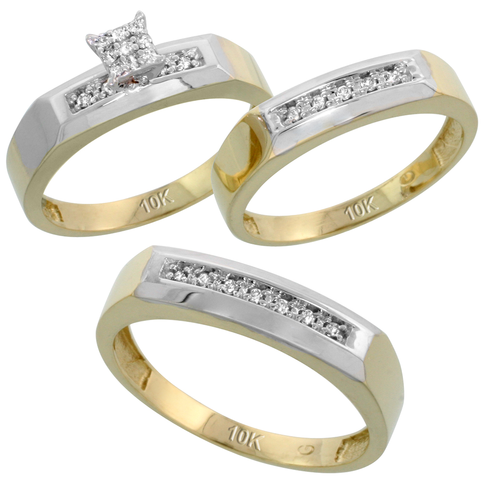 10k Yellow Gold Diamond Trio Engagement Wedding Ring Set for Him and Her 3-piece 5 mm & 4.5 mm, 0.14 cttw Brilliant Cut, ladies sizes 5 � 10, mens sizes 8 - 14