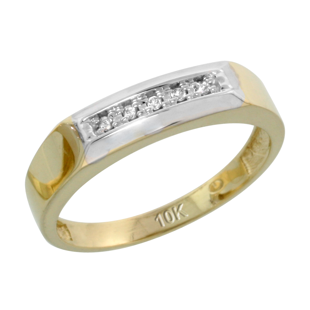 10k Yellow Gold Ladies' Diamond Wedding Band, 3/16 inch wide