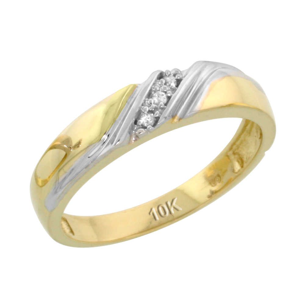 10k Yellow Gold Ladies Diamond Wedding Band Ring 0.02 cttw Brilliant Cut, 3/16 inch 4.5mm wide