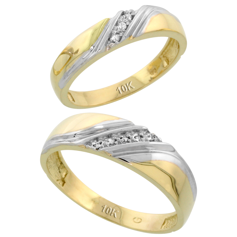 10k Yellow Gold Diamond Wedding Rings Set for him 6 mm and her 4.5 mm 2-Piece 0.05 cttw Brilliant Cut, ladies sizes 5 � 10, mens sizes 8 - 14