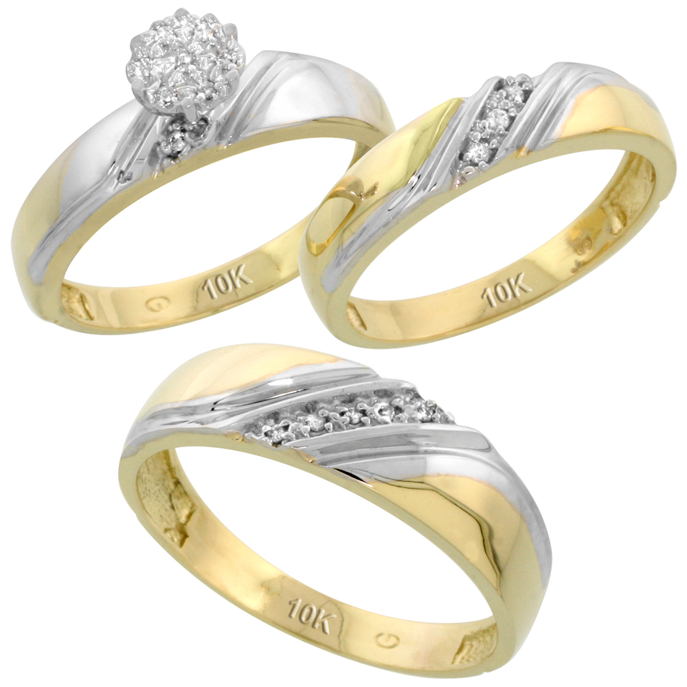 10k Yellow Gold Diamond Trio Engagement Wedding Ring Set for Him and Her 3-piece 6 mm & 4.5 mm wide 0.10 cttw Brilliant Cut, ladies sizes 5 � 10, mens sizes 8 - 14