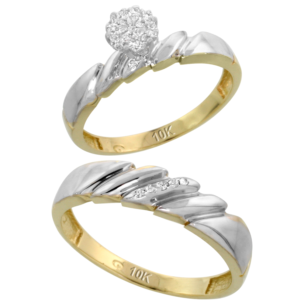 10k Yellow Gold Diamond Engagement Rings Set for Men and Women 2-Piece 0.08 cttw Brilliant Cut, 4mm & 5mm wide