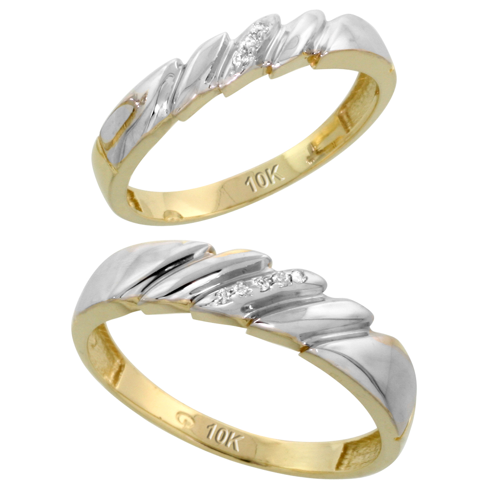 10k Yellow Gold Diamond Wedding Rings Set for him 5 mm and her 4 mm 2-Piece 0.05 cttw Brilliant Cut, ladies sizes 5 � 10, mens sizes 8 - 14