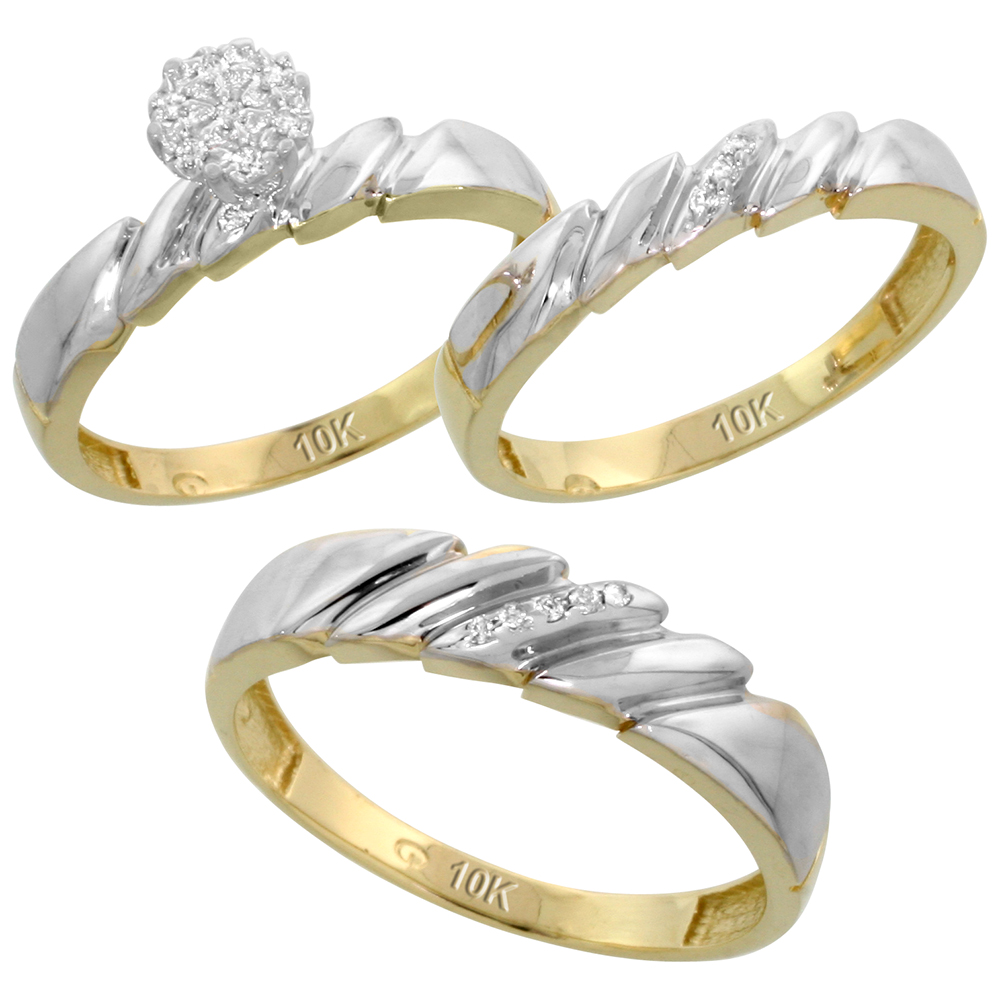 10k Yellow Gold Diamond Trio Engagement Wedding Ring Set for Him and Her 3-piece 5 mm & 4 mm wide 0.10 cttw Brilliant Cut, ladies sizes 5 � 10, mens sizes 8 - 14