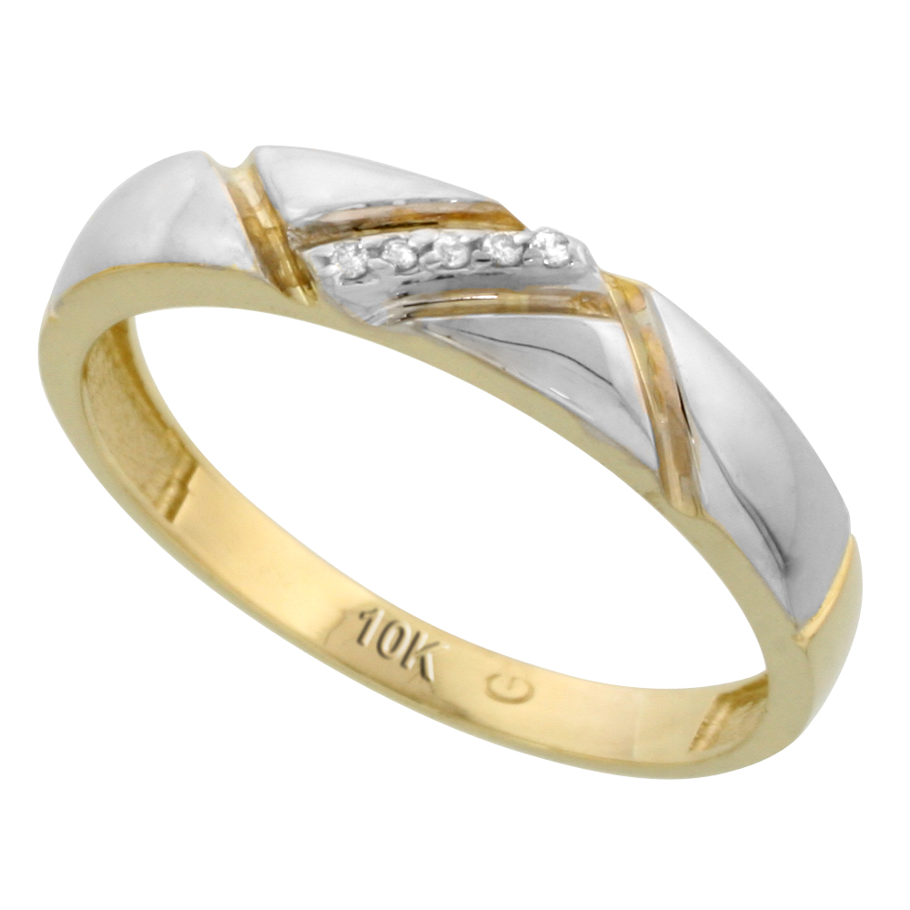 10k Yellow Gold Mens Diamond Wedding Band Ring 0.03 cttw Brilliant Cut, 3/16 inch 4.5mm wide