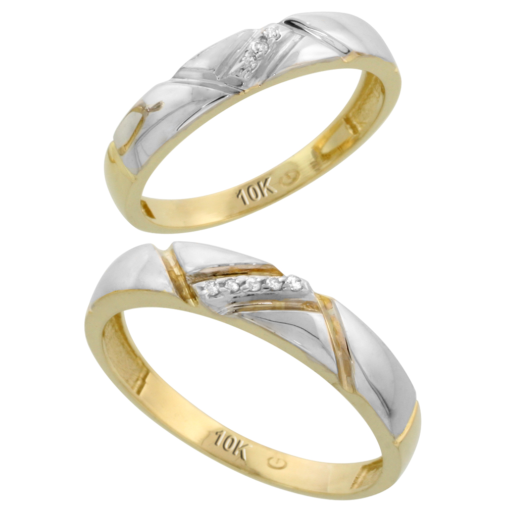 10k Yellow Gold Diamond Wedding Rings Set for him 4.5 mm and her 4 mm 2-Piece 0.05 cttw Brilliant Cut, ladies sizes 5 � 10, mens sizes 8 - 14
