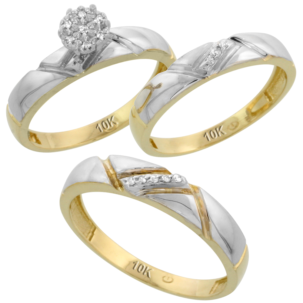 10k Yellow Gold Diamond Trio Engagement Wedding Ring Set for Him and Her 3-piece 4.5 mm & 4 mm wide 0.10 cttw Brilliant Cut, ladies sizes 5 � 10, mens sizes 8 - 14