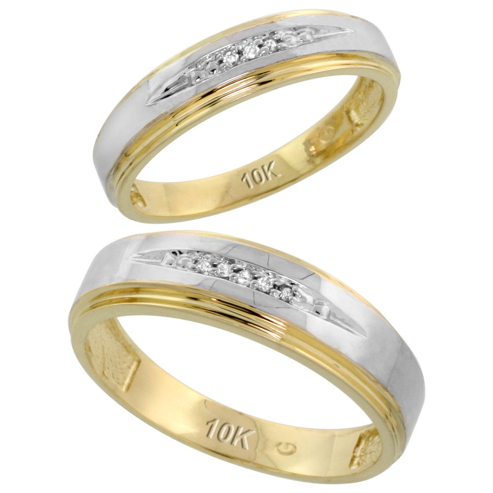 10k Yellow Gold Diamond Wedding Rings Set for him 6 mm and her 5 mm 2-Piece 0.05 cttw Brilliant Cut, ladies sizes 5 � 10, mens sizes 8 - 14