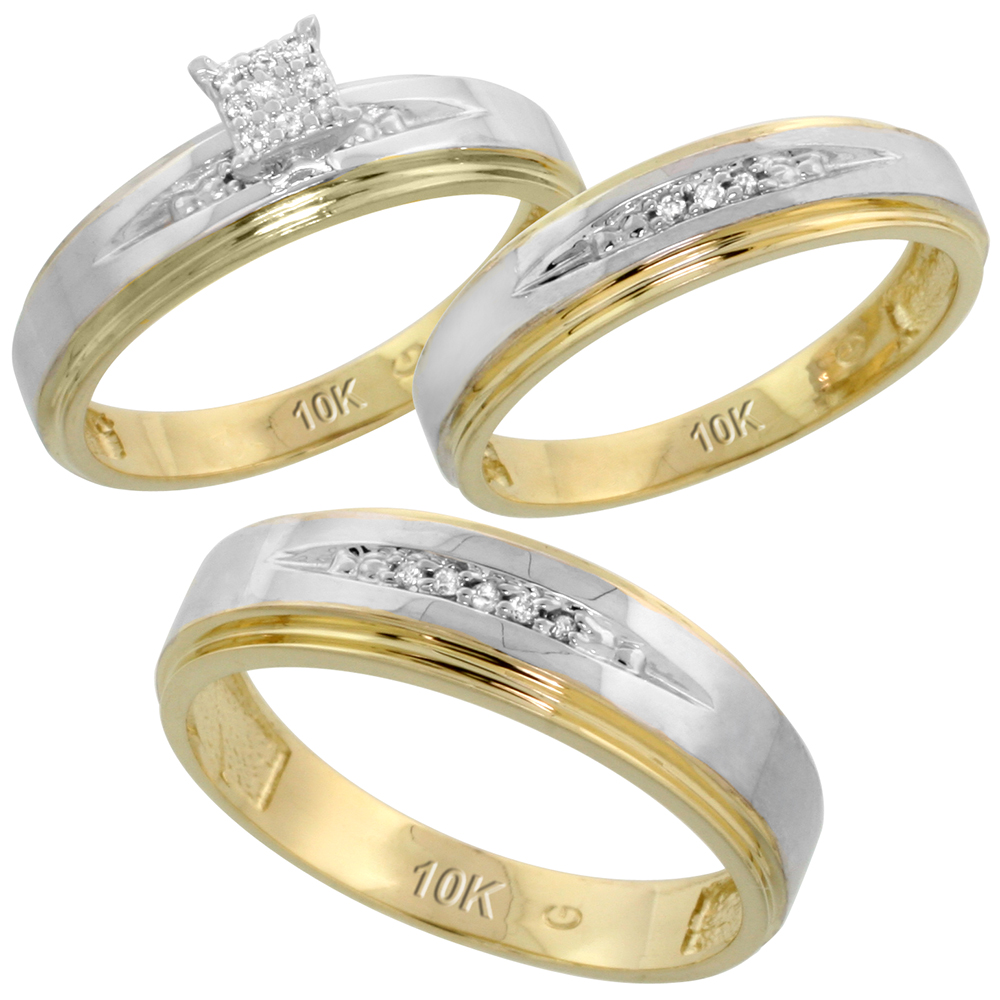 10k Yellow Gold Diamond Trio Engagement Wedding Ring Set for Him and Her 3-piece 6 mm & 5 mm wide 0.11 cttw Brilliant Cut, ladies sizes 5 � 10, mens sizes 8 - 14