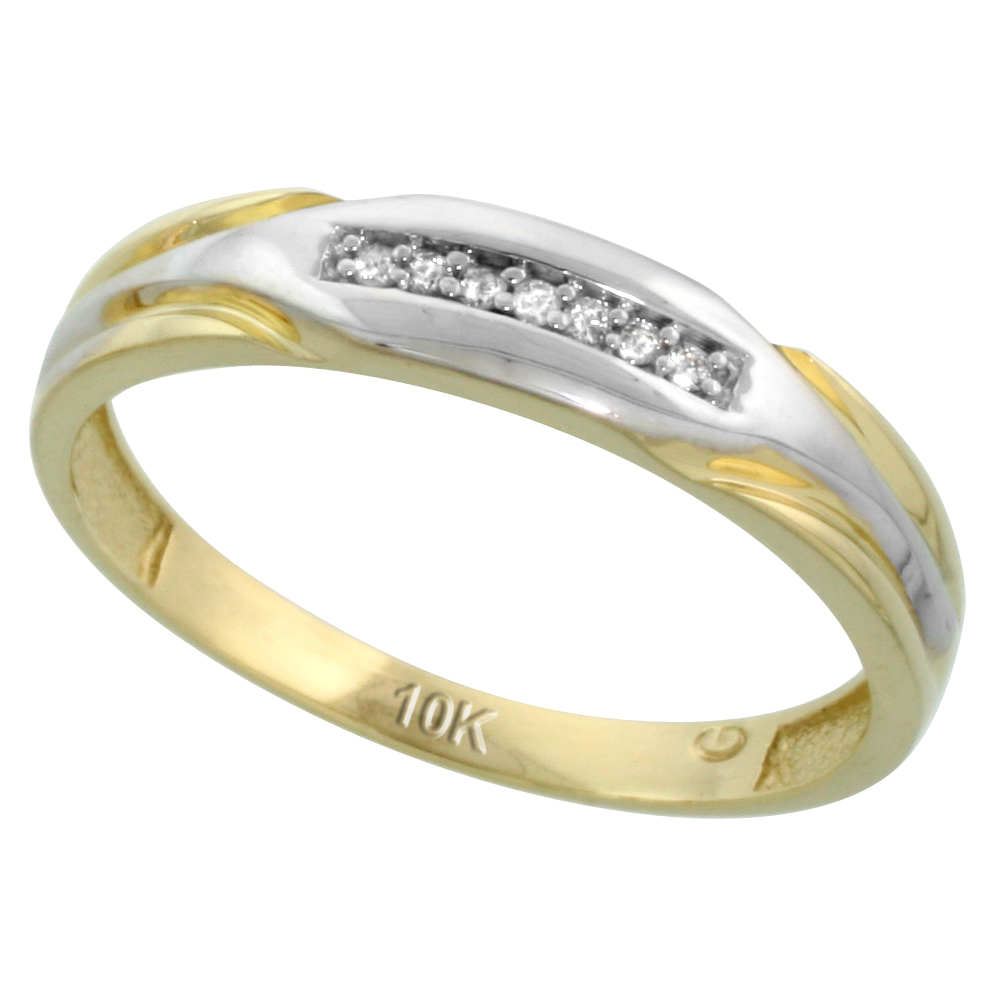 10k Yellow Gold Mens Diamond Wedding Band Ring 0.04 cttw Brilliant Cut, 3/16 inch 4.5mm wide