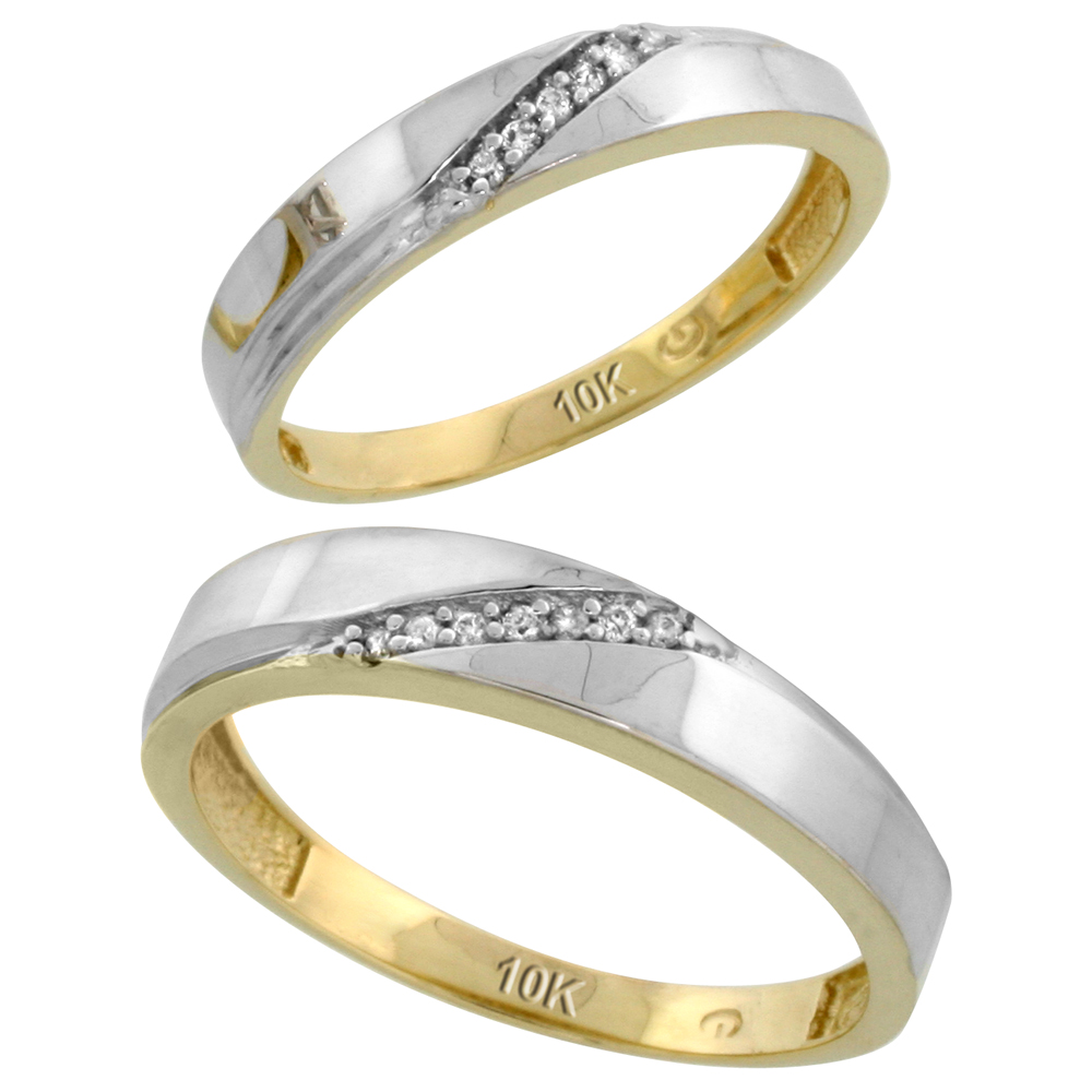 10k Yellow Gold Diamond Wedding Rings Set for him 4.5 mm and her 3.5 mm 2-Piece 0.07 cttw Brilliant Cut, ladies sizes 5 � 10, mens sizes 8 - 14