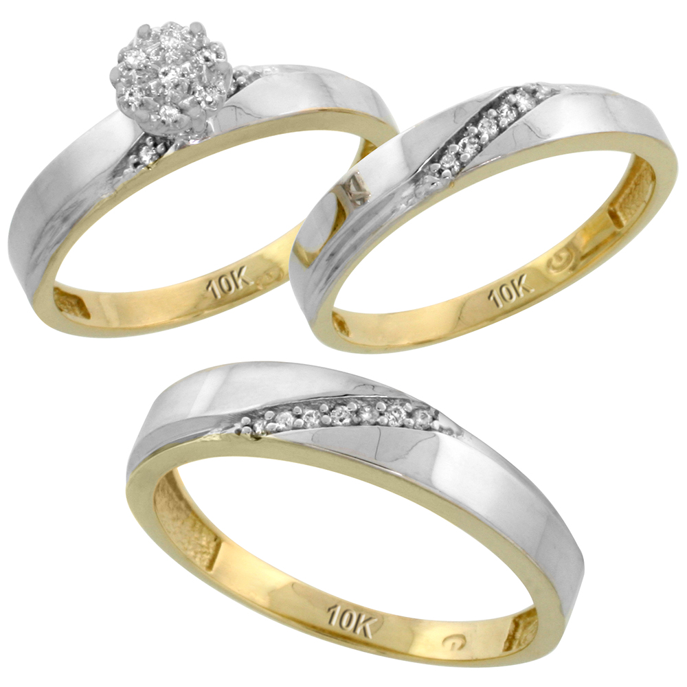 10k Yellow Gold Diamond Trio Engagement Wedding Ring Set for Him and Her 3-piece 4.5 mm & 3.5 mm wide 0.13 cttw Brilliant Cut, ladies sizes 5 � 10, mens sizes 8 - 14