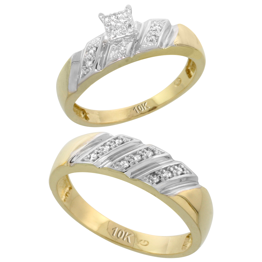 10k Yellow Gold Diamond Engagement Rings Set for Men and Women 2-Piece 0.12 cttw Brilliant Cut, 5mm & 6mm wide