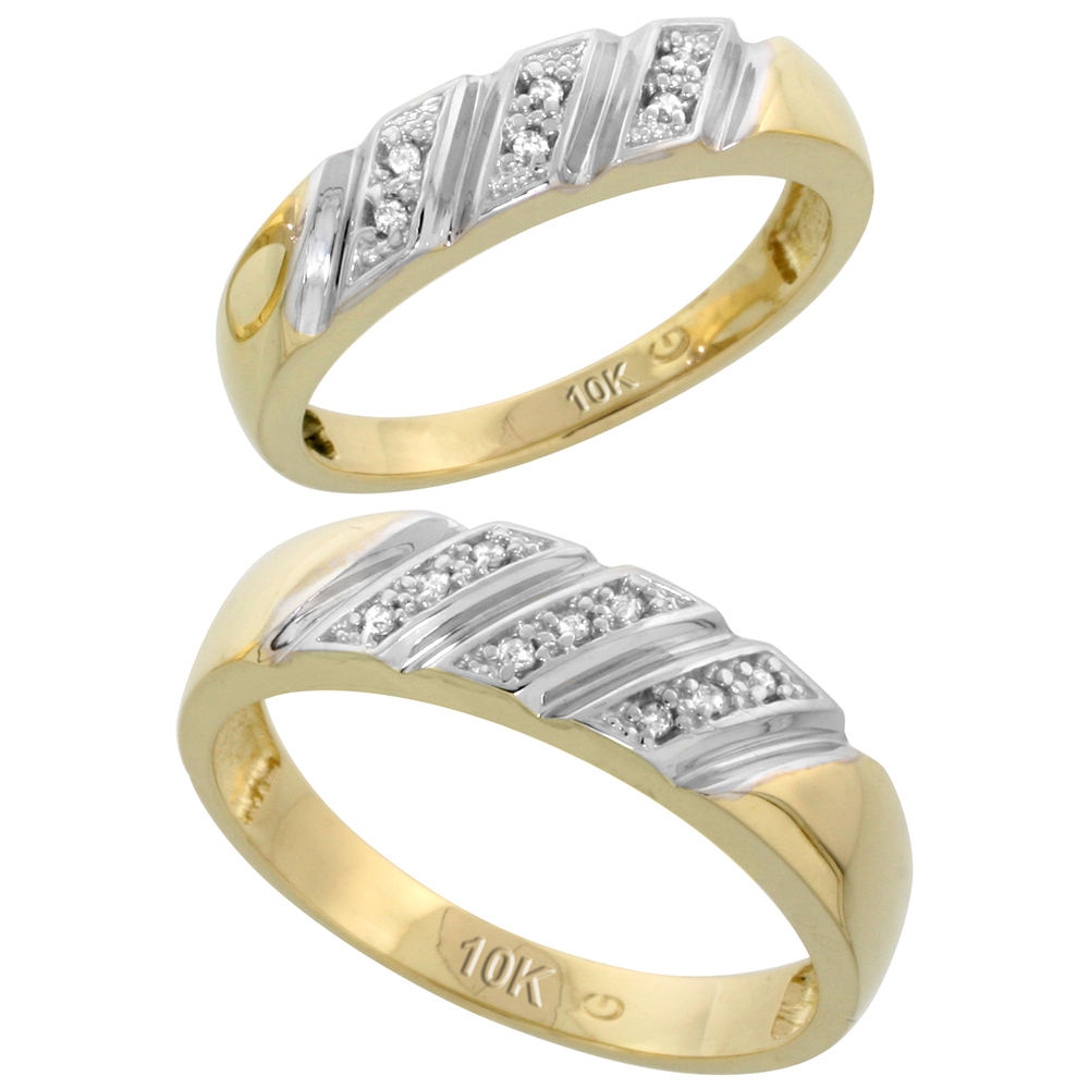 10k Yellow Gold Diamond Wedding Rings Set for him 6 mm and her 5 mm 2-Piece 0.08 cttw Brilliant Cut, ladies sizes 5 � 10, mens sizes 8 - 14