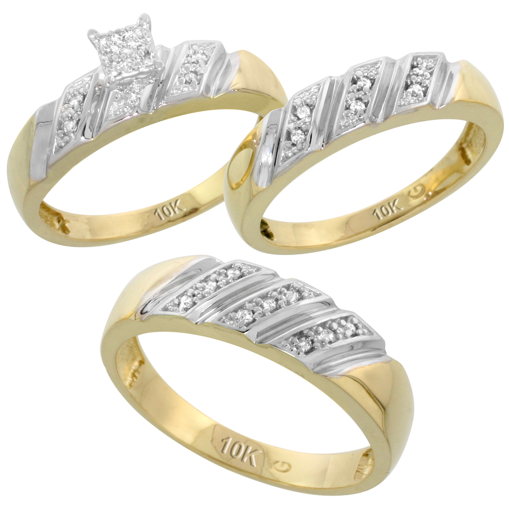 10k Yellow Gold Trio Engagement Wedding Ring Set for Him and Her 3-piece 6 mm & 5 mm wide 0.15 cttw Brilliant Cut, ladies sizes 5 � 10, mens sizes 8 - 14