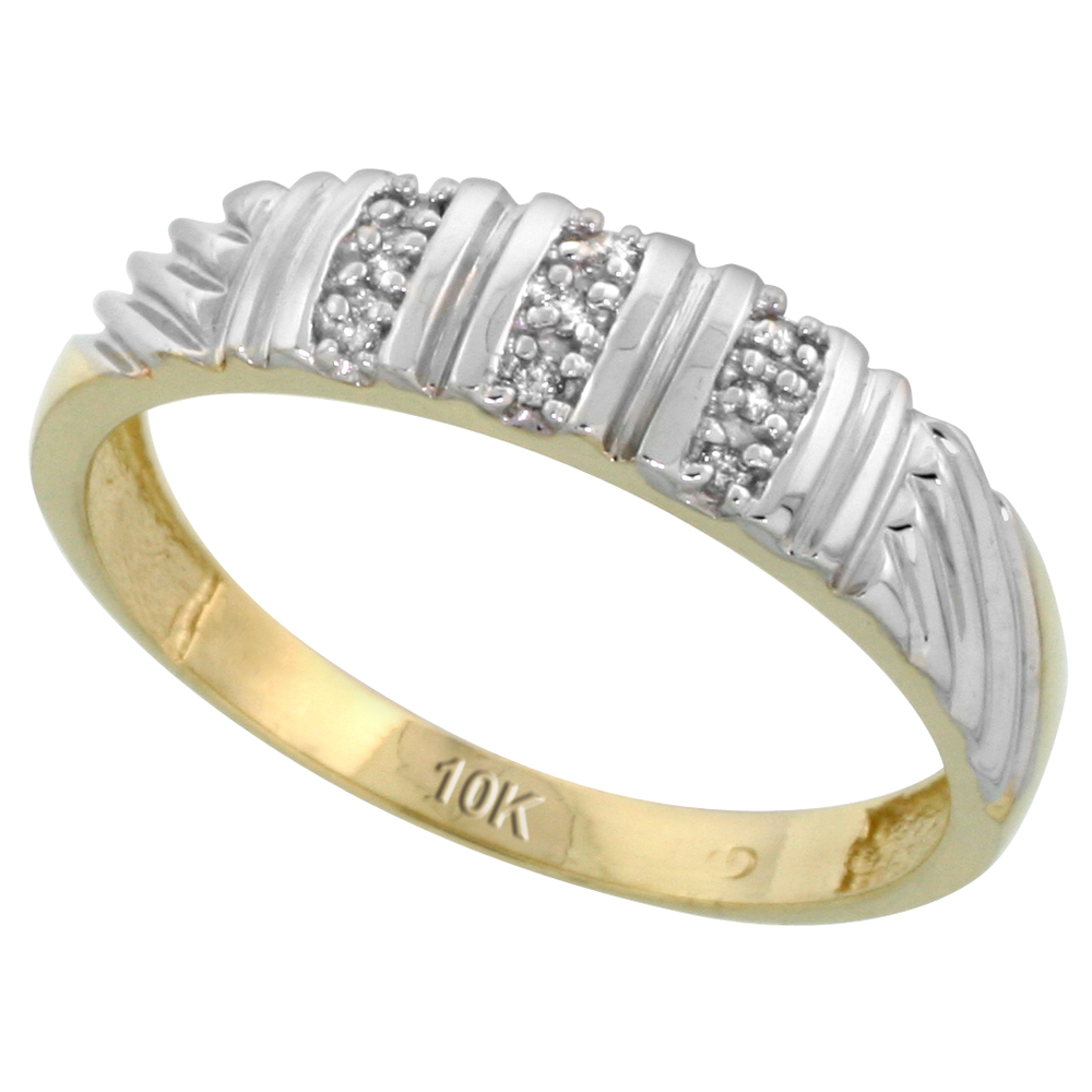 10k Yellow Gold Mens Diamond Wedding Band Ring 0.05 cttw Brilliant Cut, 3/16 inch 5mm wide
