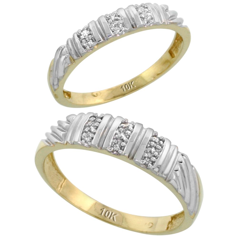 10k Yellow Gold Diamond Wedding Rings Set for him 5 mm and her 3.5 mm 2-Piece 0.08 cttw Brilliant Cut, ladies sizes 5 � 10, mens sizes 8 - 14