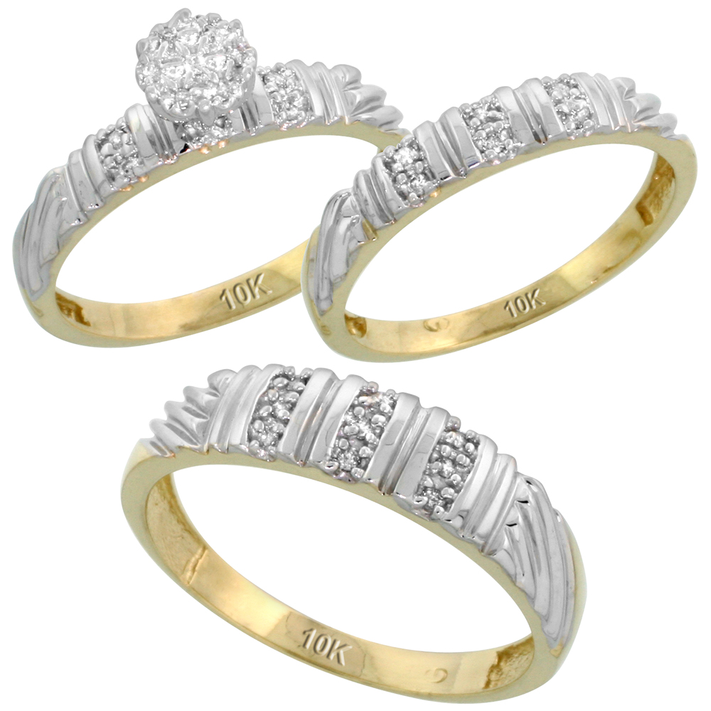 10k Yellow Gold Diamond Trio Engagement Wedding Ring Set for Him and Her 3-piece 5 mm & 3.5 mm wide 0.14 cttw Brilliant Cut, ladies sizes 5 � 10, mens sizes 8 - 14