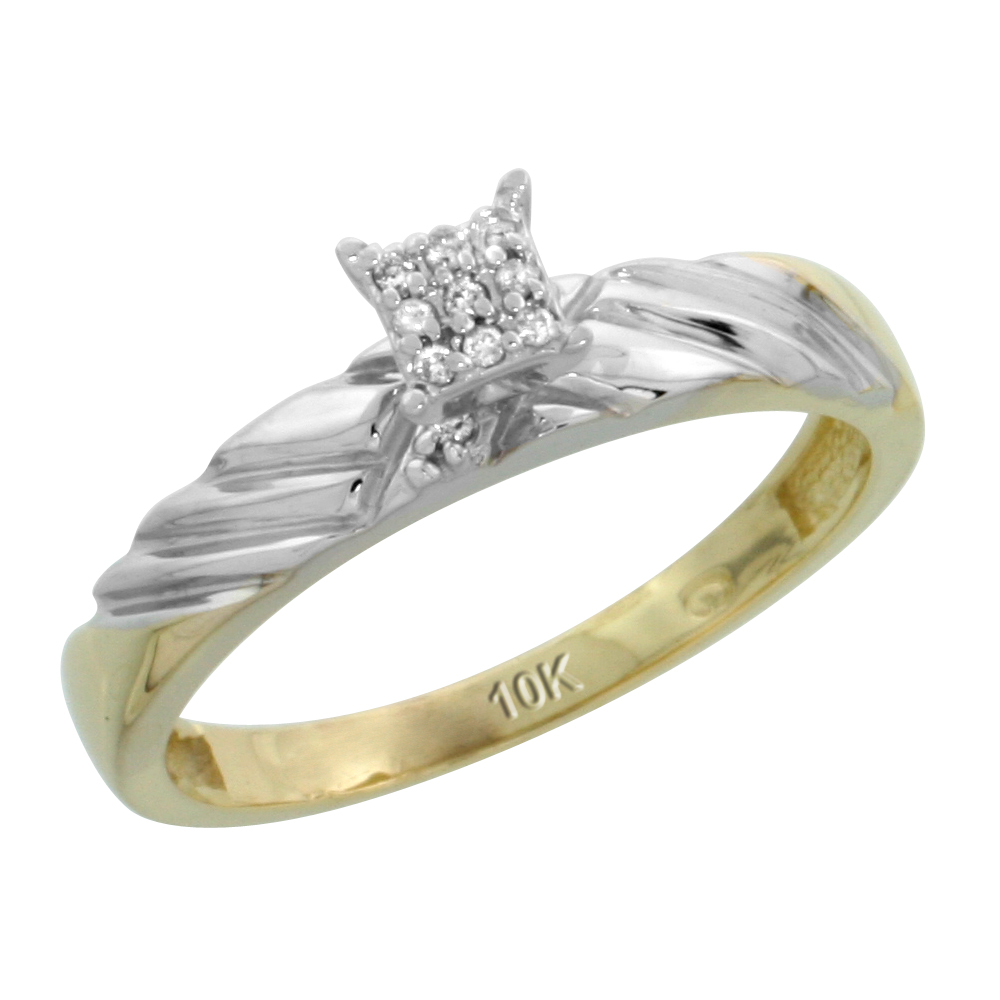 10k Yellow Gold Diamond Engagement Ring 0.06 cttw Brilliant Cut, 1/8in. 3.5mm wide