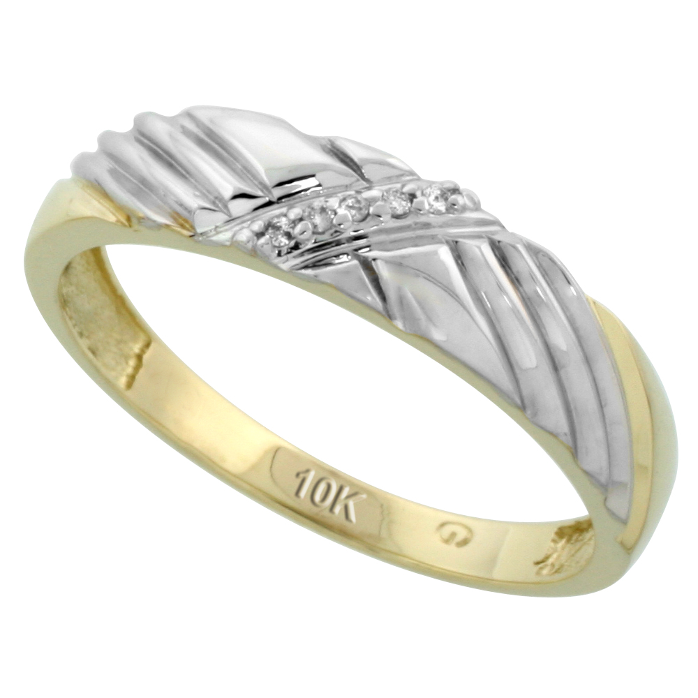 10k Yellow Gold Mens Diamond Wedding Band Ring 0.03 cttw Brilliant Cut, 3/16 inch 5mm wide