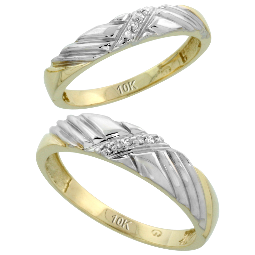 10k Yellow Gold Diamond Wedding Rings Set for him 5 mm and her 3.5 mm 2-Piece 0.05 cttw Brilliant Cut, ladies sizes 5 � 10, mens sizes 8 - 14