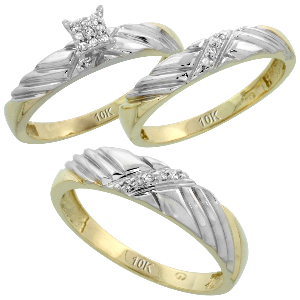 10k Yellow Gold Diamond Trio Engagement Wedding Ring Set for Him and Her 3-piece 5 mm & 3.5 mm wide 0.11 cttw Brilliant Cut, ladies sizes 5 � 10, mens sizes 8 - 14