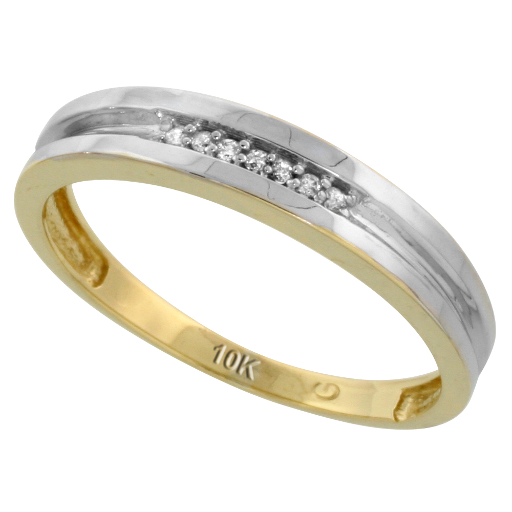 10k Yellow Gold Mens Diamond Wedding Band Ring 0.04 cttw Brilliant Cut, 5/32 inch 4mm wide