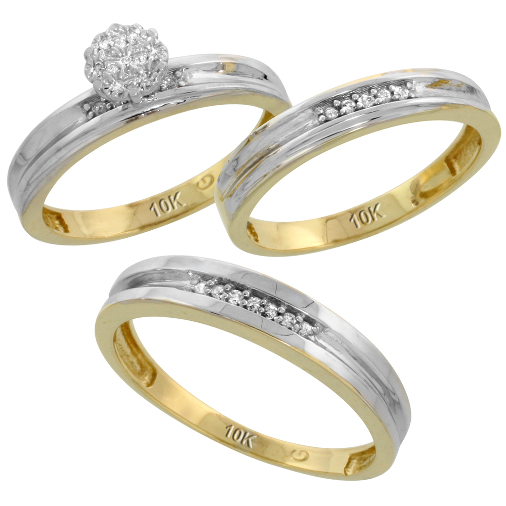 10k Yellow Gold Diamond Trio Engagement Wedding Ring Set for Him and Her 3-piece 4 mm & 3.5 mm wide 0.13 cttw Brilliant Cut, ladies sizes 5 � 10, mens sizes 8 - 14