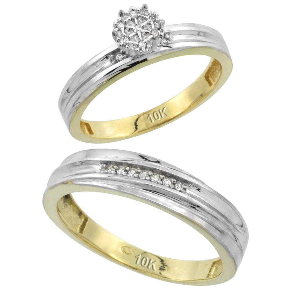 10k Yellow Gold Diamond Engagement Rings Set for Men and Women 2-Piece 0.10 cttw Brilliant Cut, 4 mm & 3.5 mm wide
