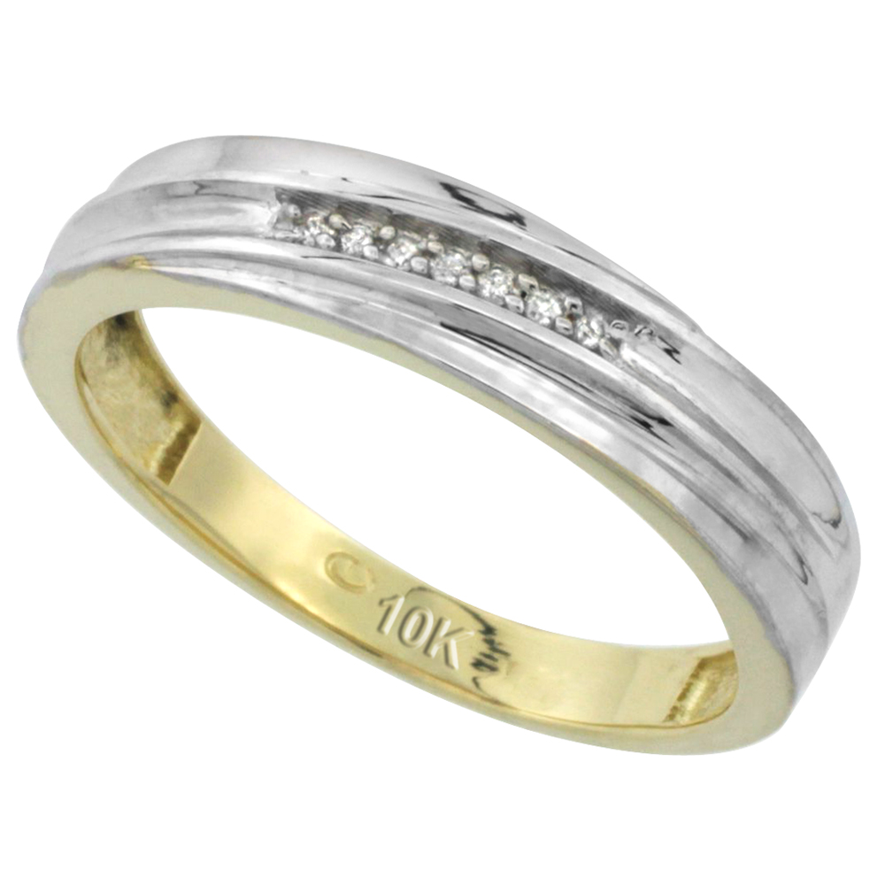 10k Yellow Gold Mens Diamond Wedding Band Ring 0.04 cttw Brilliant Cut, 3/16 inch 5mm wide