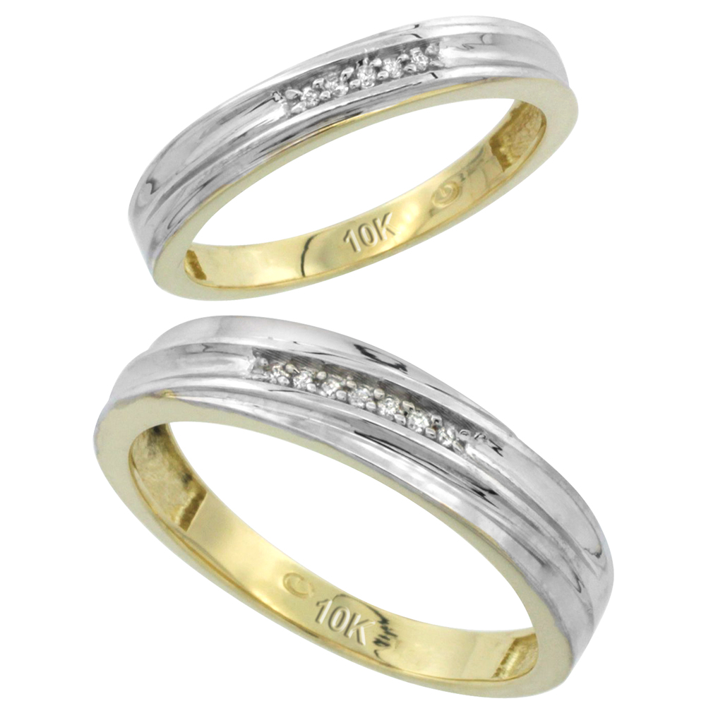 10k Yellow Gold Diamond Wedding Rings Set for him 5 mm and her 3.5 mm 2-Piece 0.07 cttw Brilliant Cut, ladies sizes 5 � 10, mens sizes 8 - 14