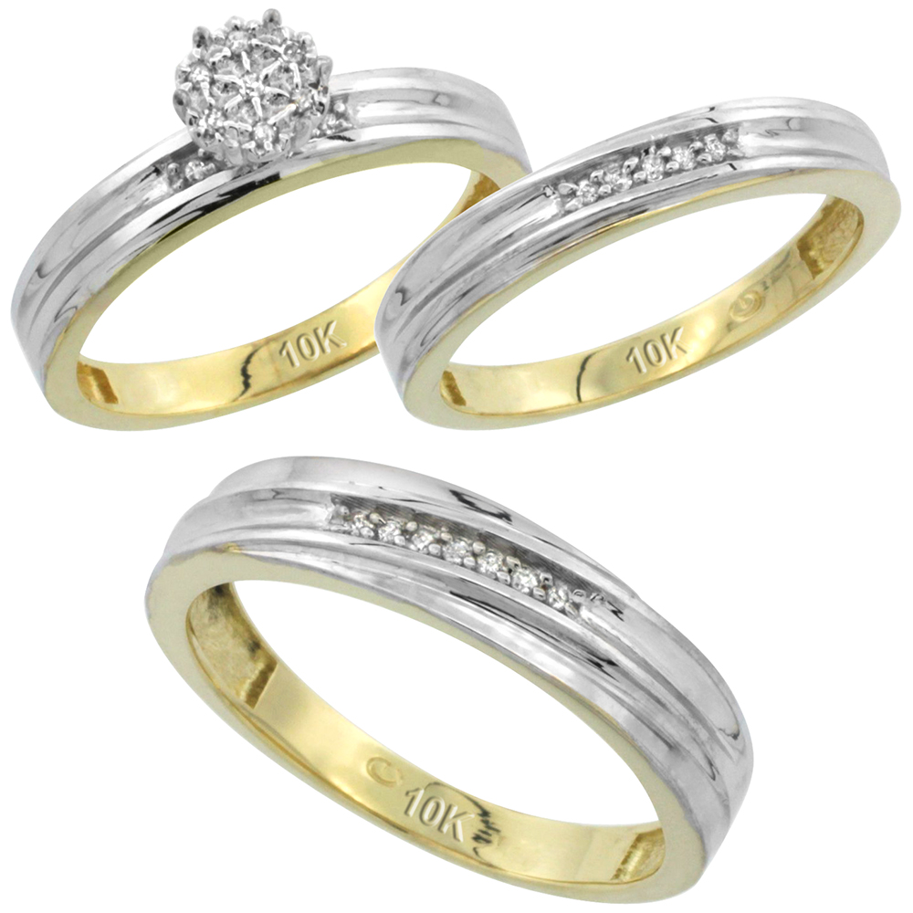 10k Yellow Gold Diamond Trio Engagement Wedding Ring Set for Him and Her 3-piece 5 mm & 3.5 mm wide 0.13 cttw Brilliant Cut, ladies sizes 5 � 10, mens sizes 8 - 14
